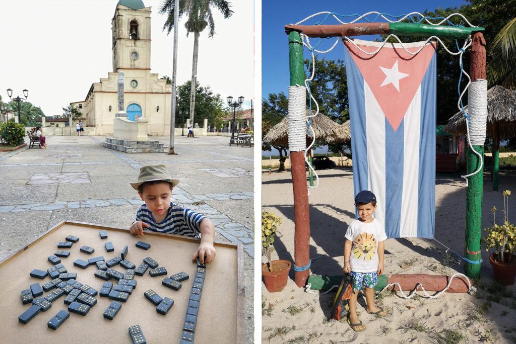 domino nella piazza di Viñales nella foto a sinistra, Playa Ancòn nella foto a destra